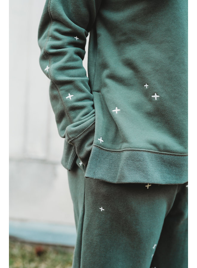 Vintage Teal Embroidered Sweatpants