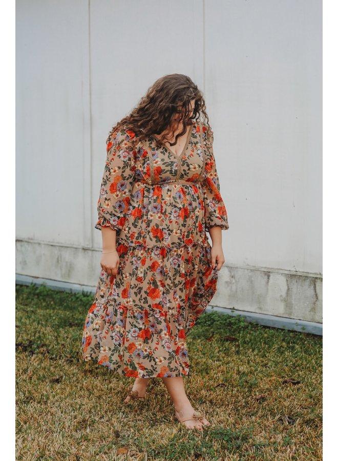 Garden Floral Ruffled Dress