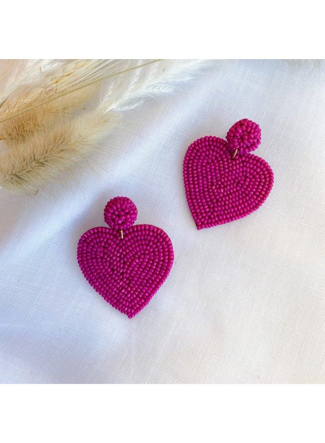 Hot Pink Heart Earrings