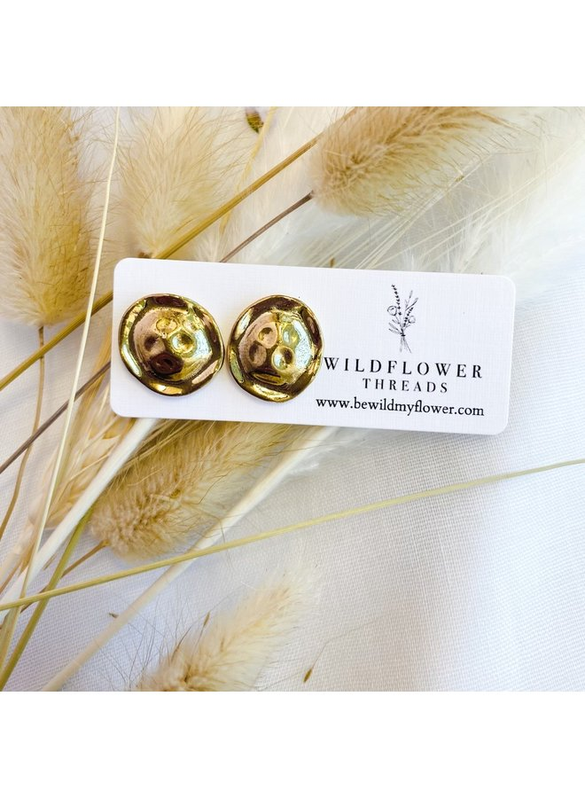 Gold Melted Coin Studs