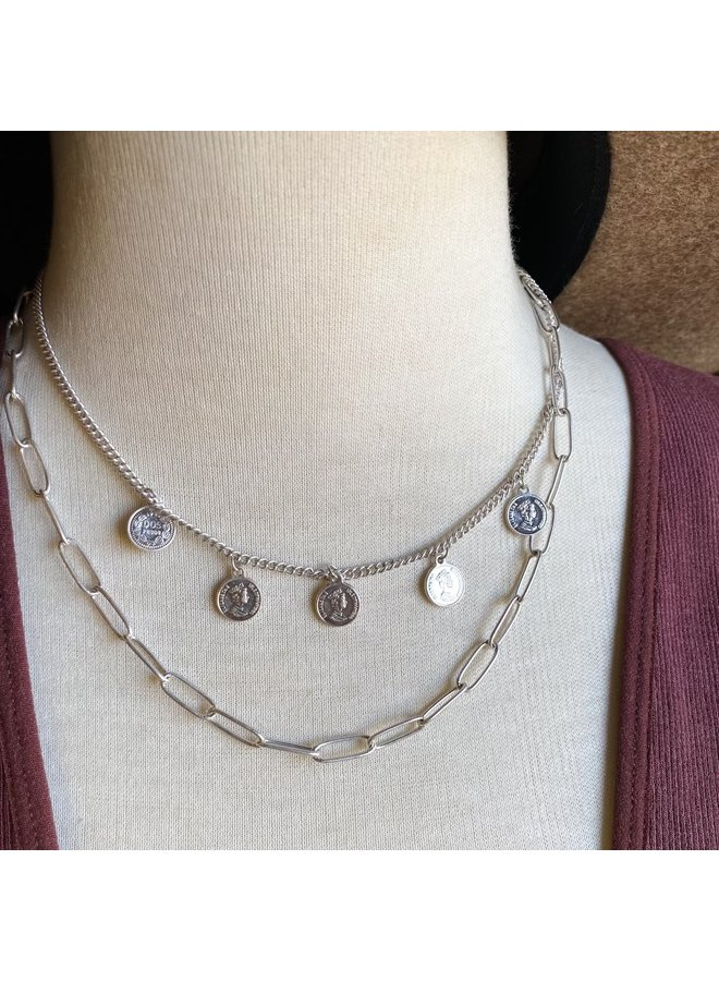 Dainty Silver Coin Necklace