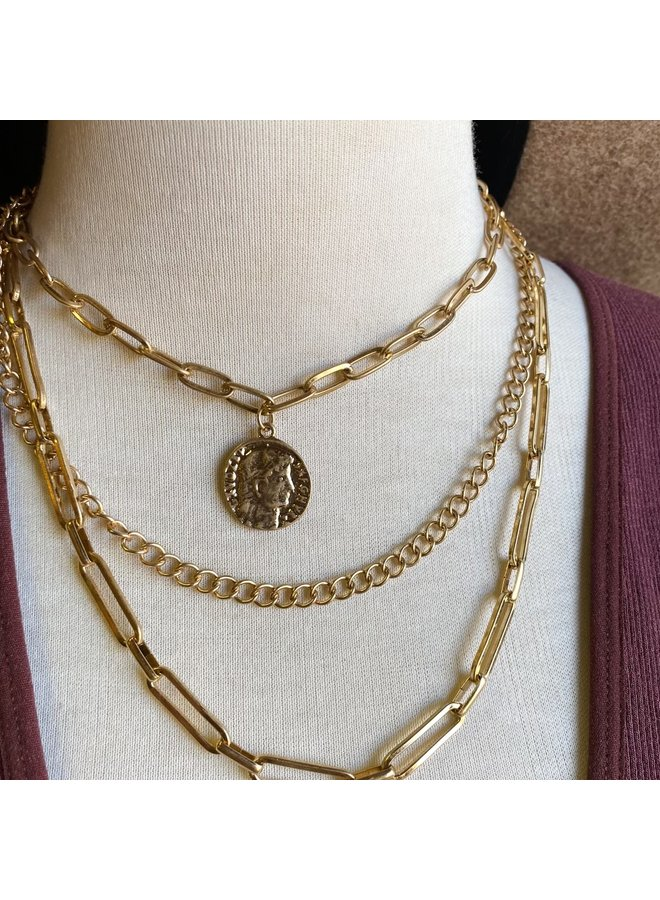 Caesar Coin Triple Layer Necklace