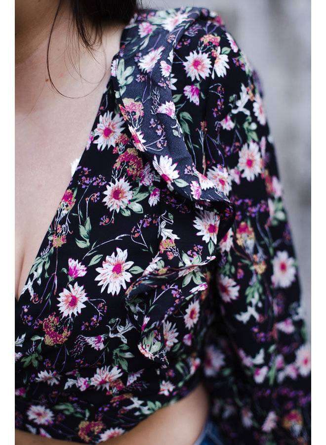 Black Floral Ruffle Wrap Top