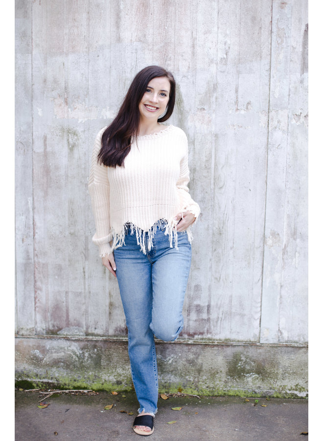 Ivory Frayed Sweater