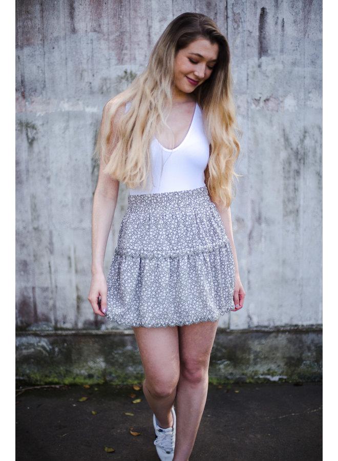 Sage Floral Mini Skirt w/ Scallop Edge