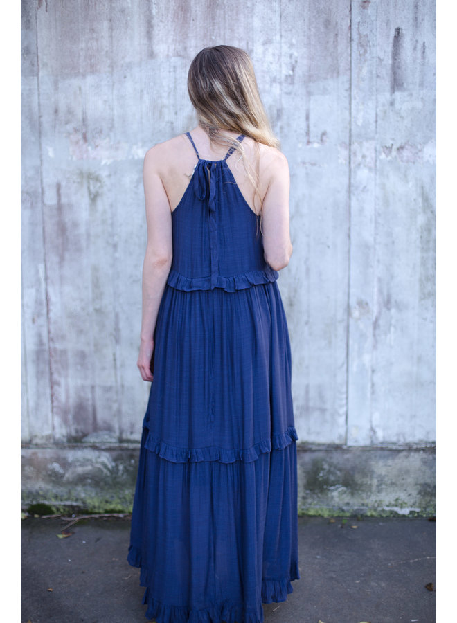 Halter Neck Maxi Dress w/ Shirring Detail