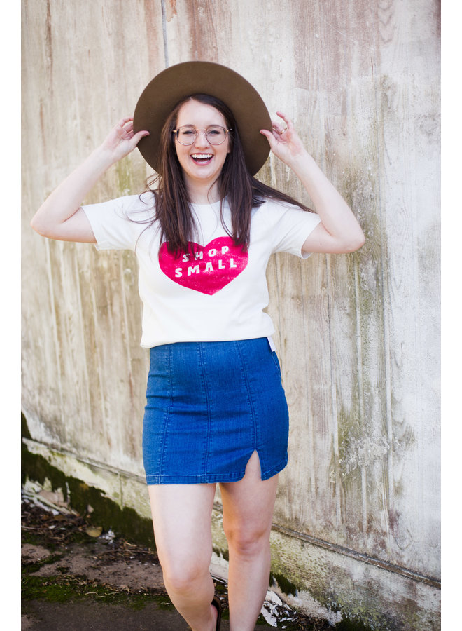 Medium Denim Side Slit Mini Skirt
