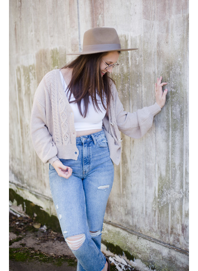 Cable Knit Button Down Cardigan