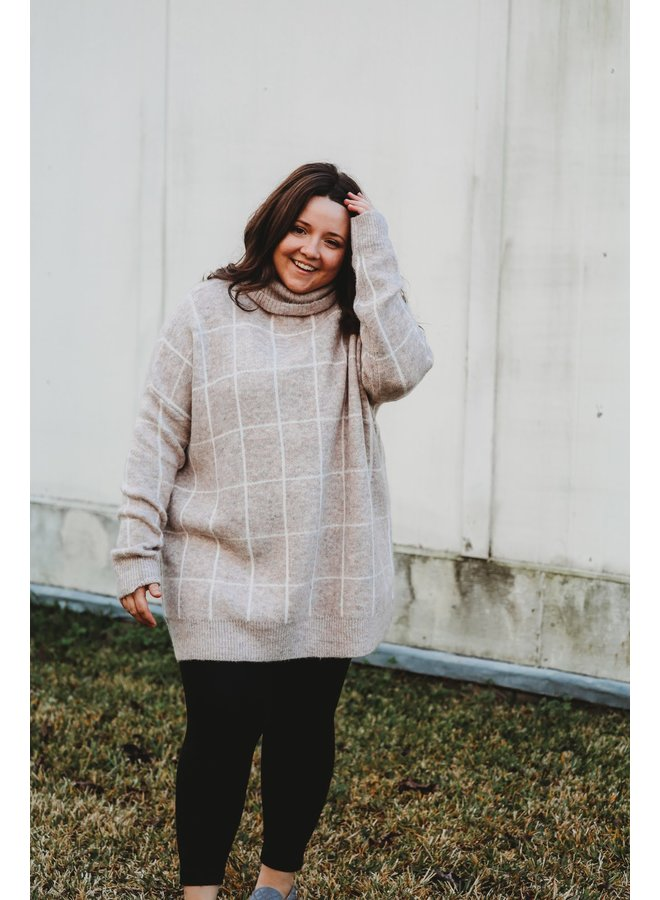 Oatmeal Plaid Turtleneck Sweater