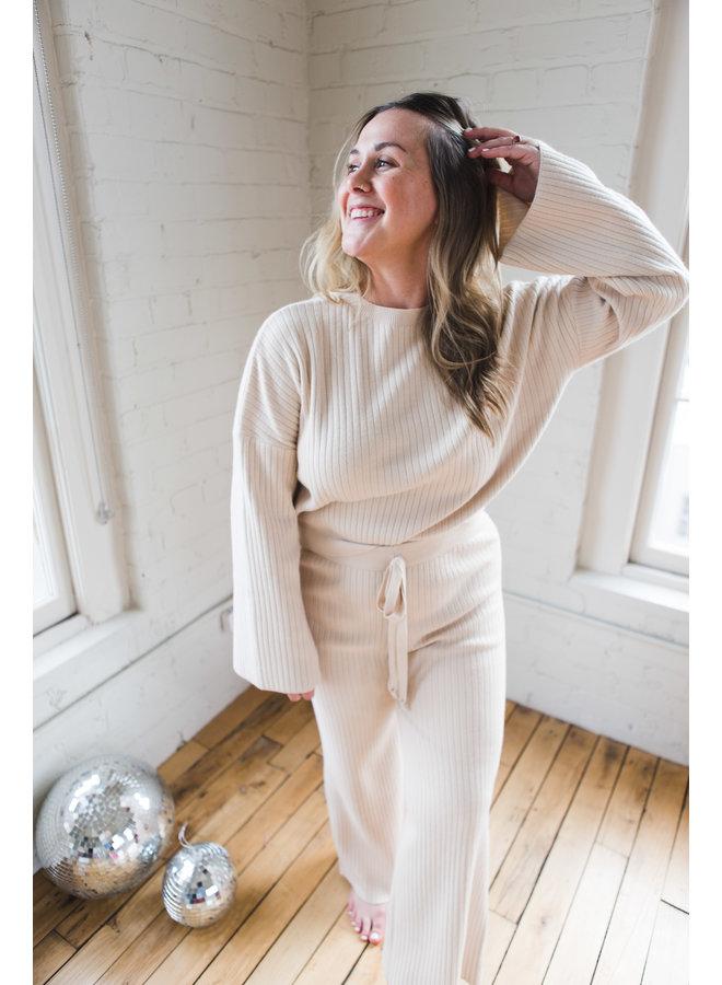 Natural Ribbed Sweater Set