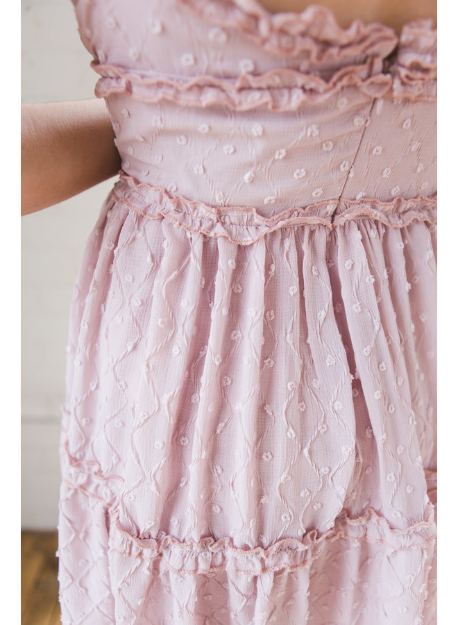 Swiss Dot Crinkle Woven Tiered Cami Dress
