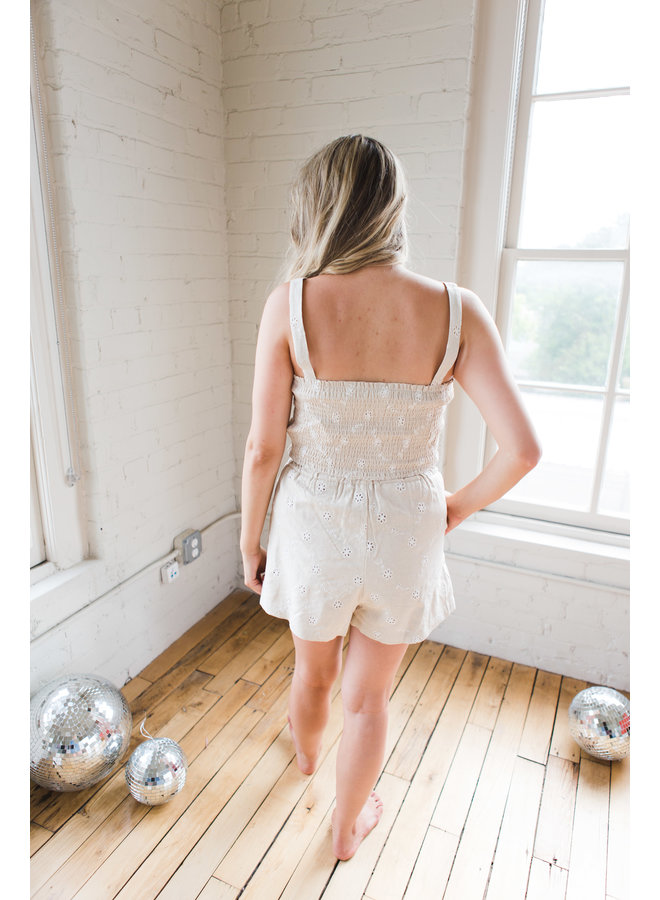 Taupe Linen Floral Embroidered Shorts