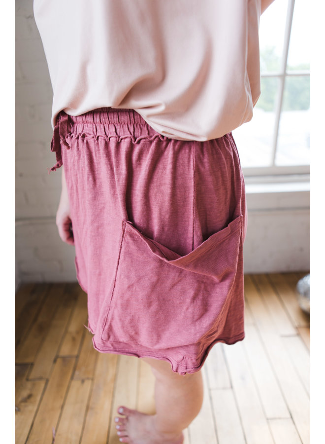 Faded Rose Shorts with Front Pocket