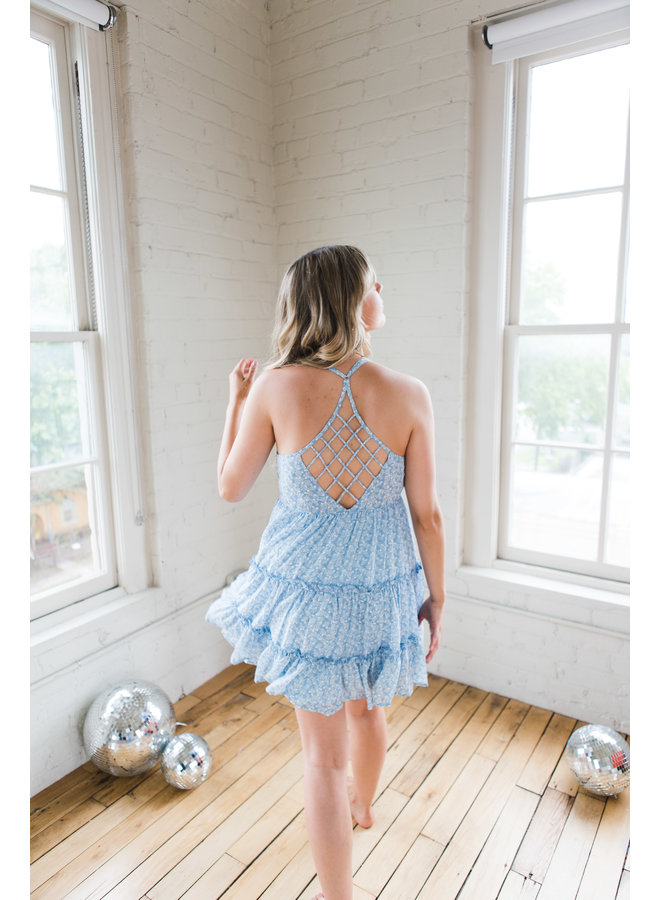 Sky Blue Floral Mini Dress