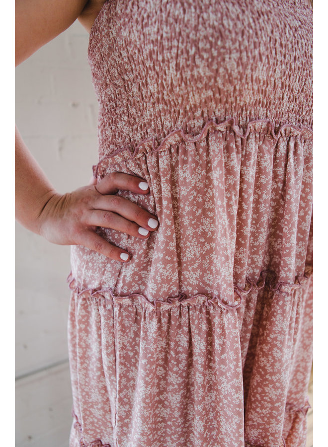 Rose Tiered Maxi with Smocked Waistband
