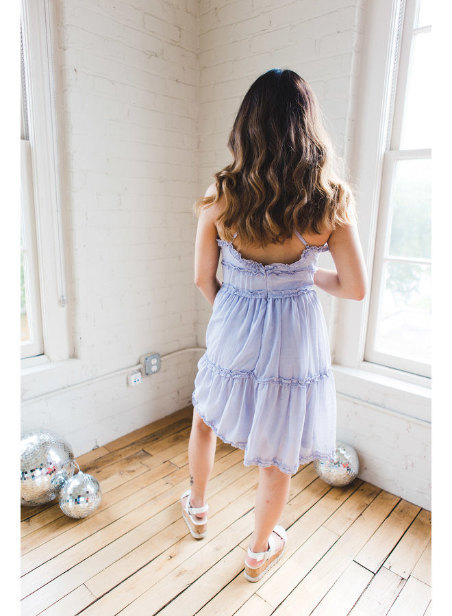 Blue Grey Crinkle Tiered Cami Ruffle Dress