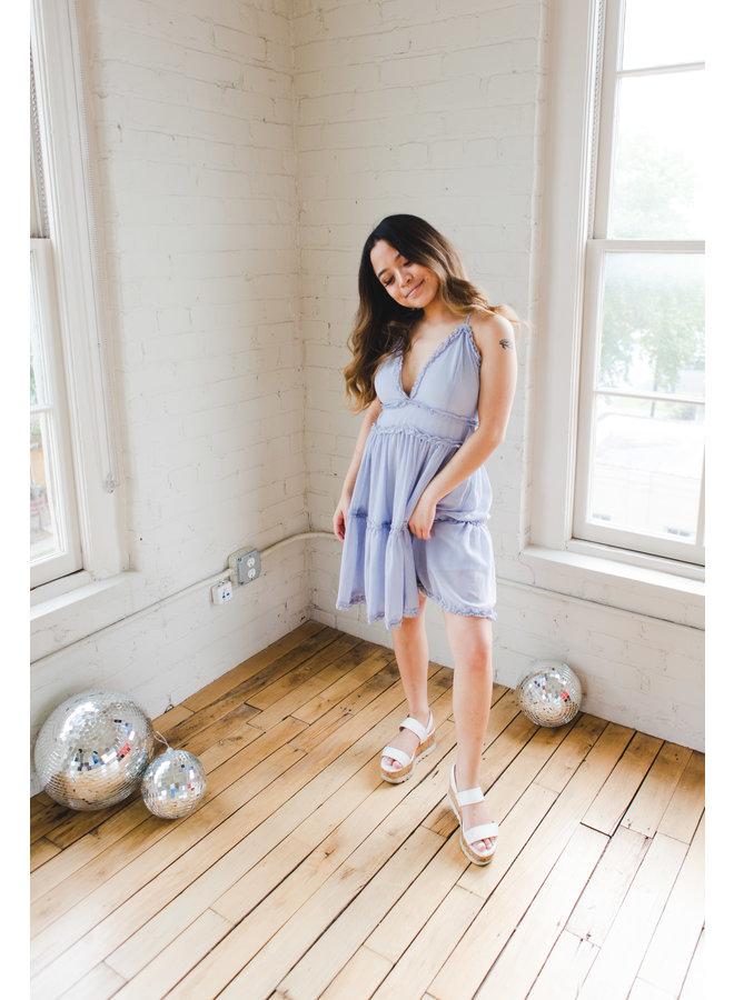 Blue Grey Crinkle Tiered Cami Ruffle Dress