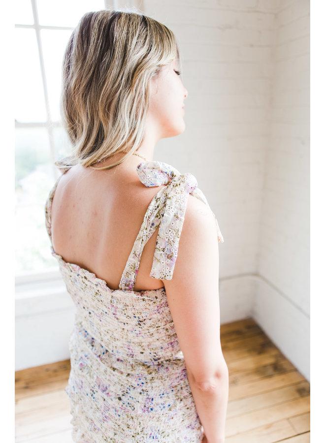 Floral Eyelet Scrunch Dress