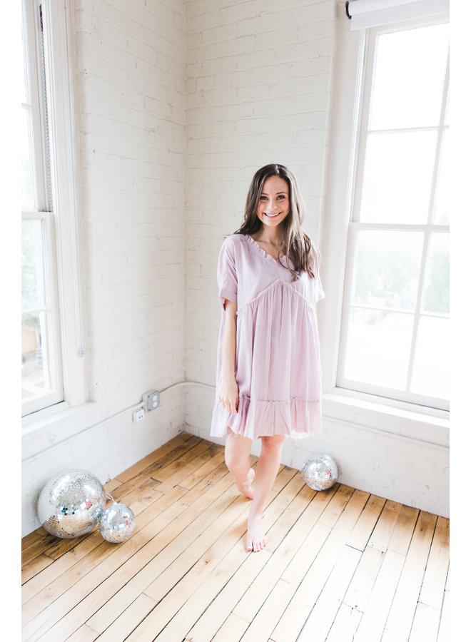 Mauve Linen Textured V-Neck Baby Doll Ruffle Tunic Dress