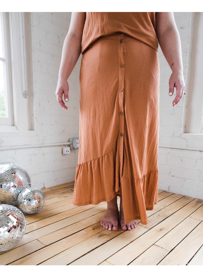 Tie Strap Button Down Top & Skirt Set