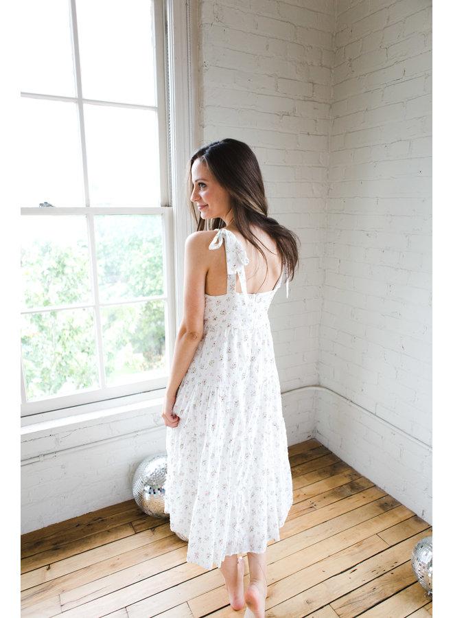 White Floral Tie Strap Dress