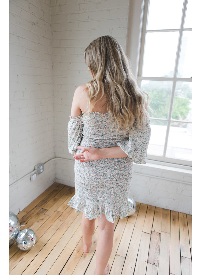 Cream Short Puff Off the Shoulder Woven Smocked Dress
