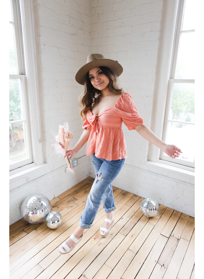 Coral Top with Front Tie Blouse