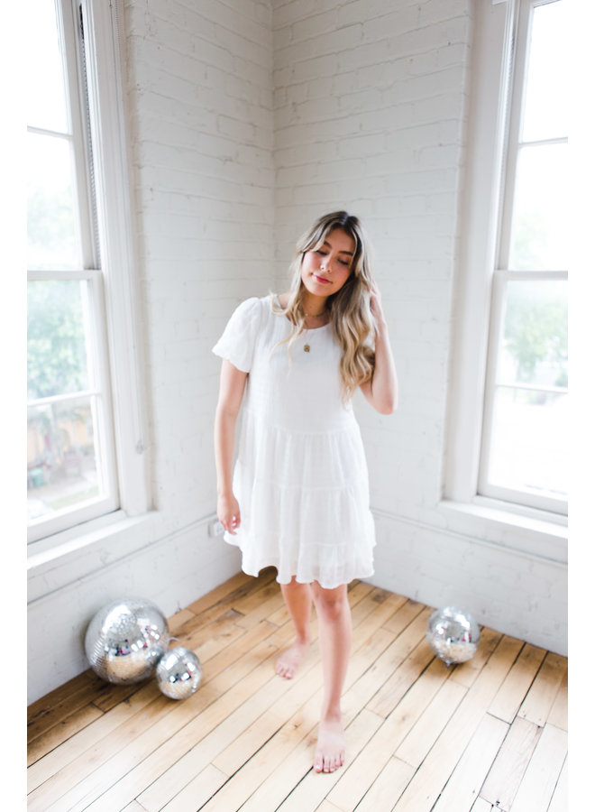 Off White Short Bubble Sleeve Woven Dress
