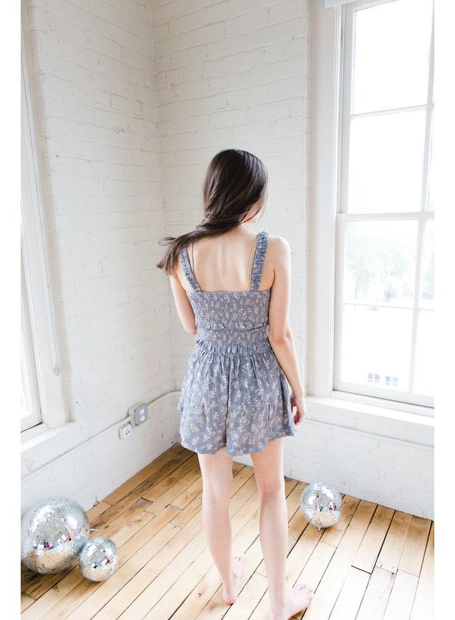 Blue Taupe Floral Set Skirt