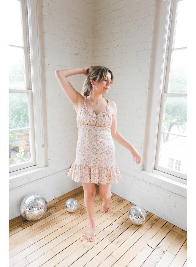 Floral Babydoll Shirred Mini Dress