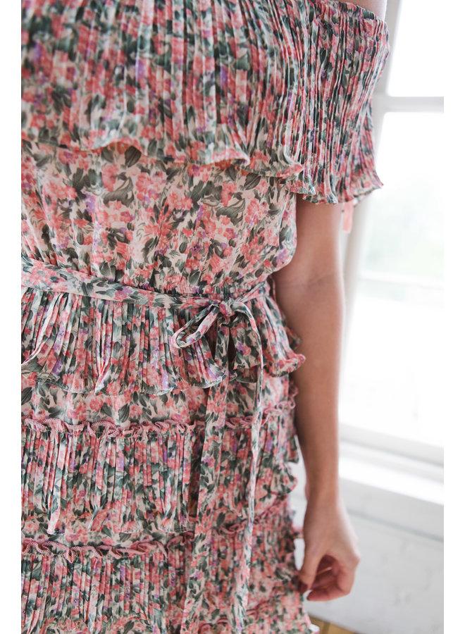 Rose Pink Off the Shoulder Pleated Dress