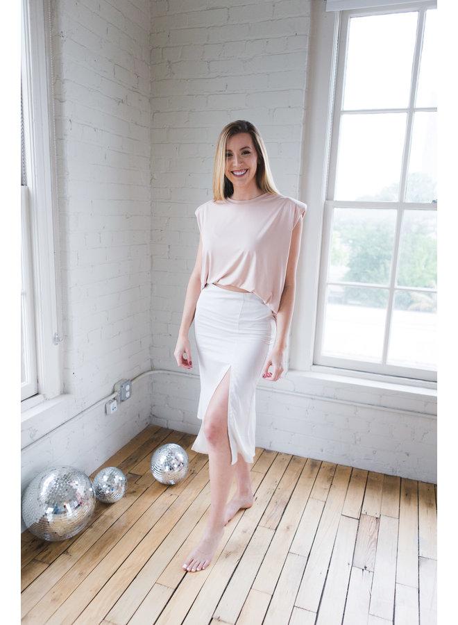 Stone Woven Midi Skirt with Slit