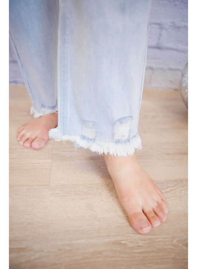 Light Denim Distressed Hem Jeans