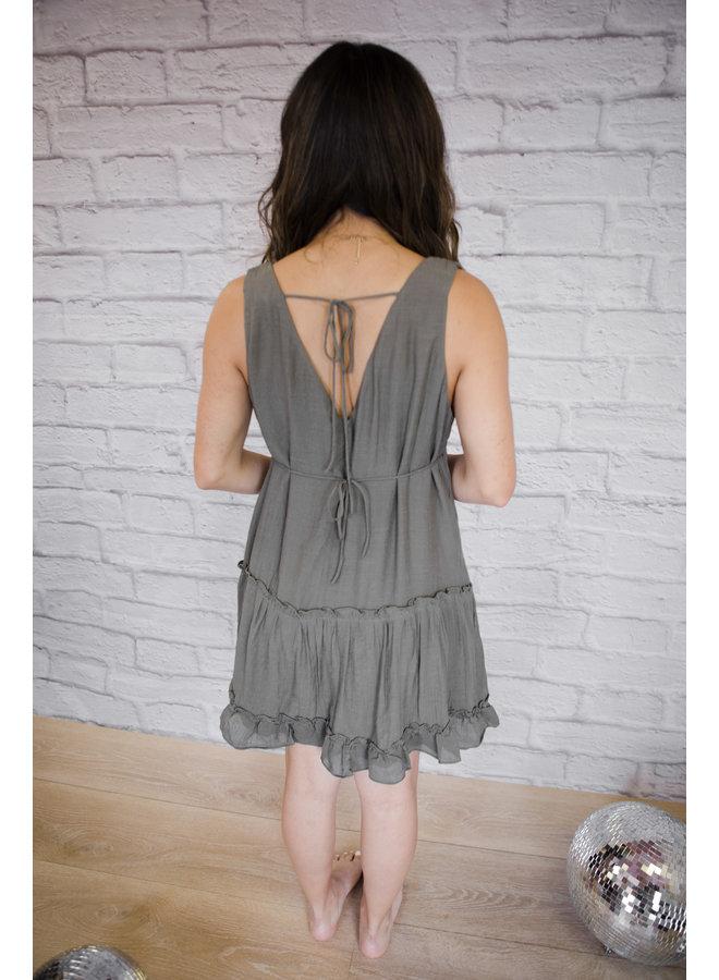 Olive Tiered Mini Dress