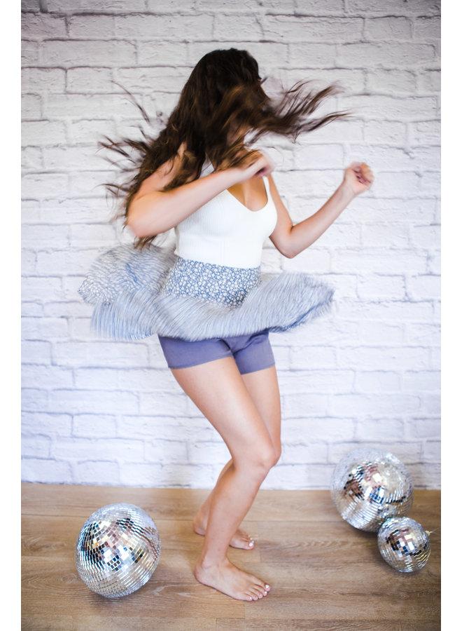Blue Floral Print Mini Skirt
