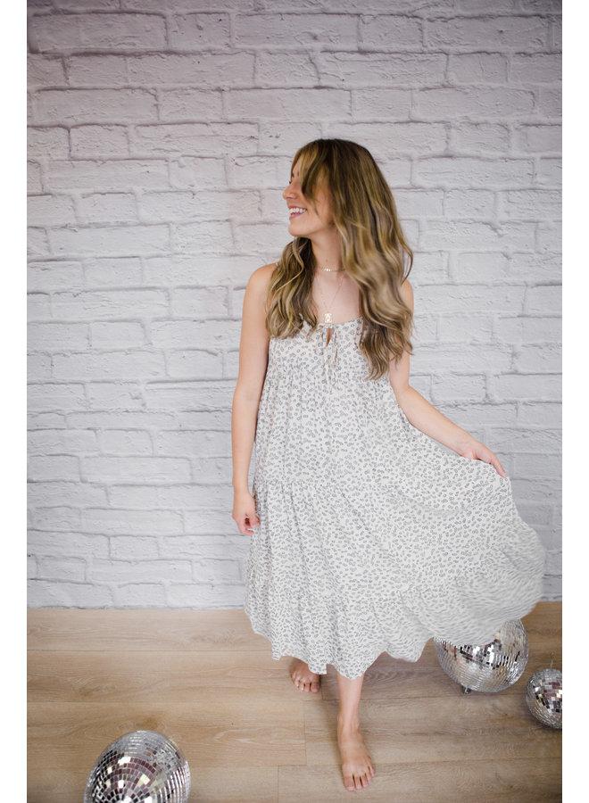 Ivory Printed Tiered Midi Dress