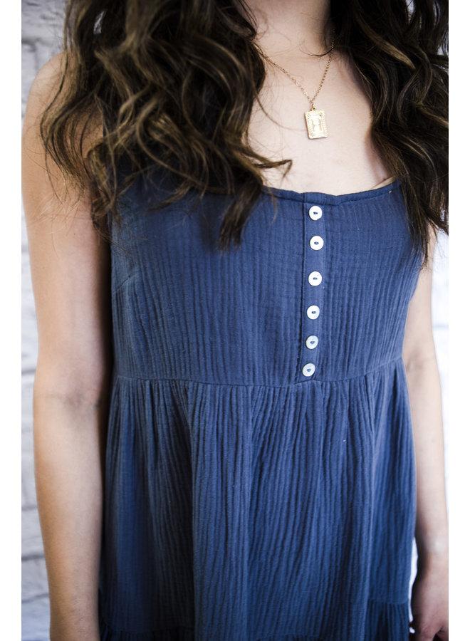 Navy Button-down Babydoll Dress