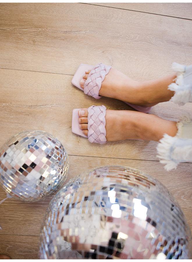 Block Woven Band Toe Flat Sandal