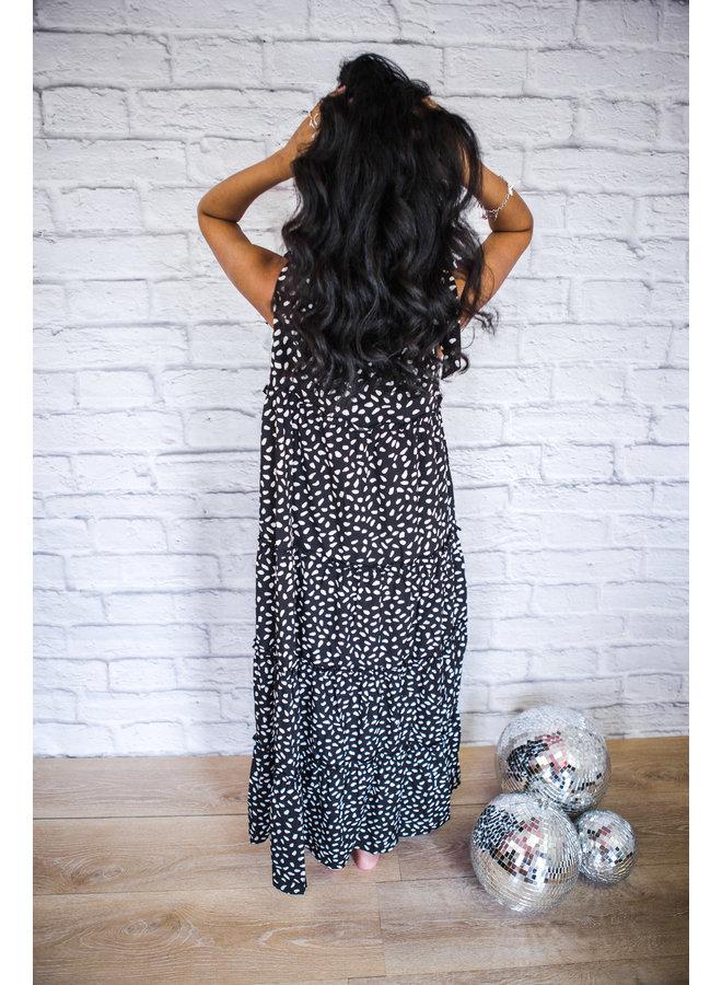 Tying Straps Tiered Midi Dress