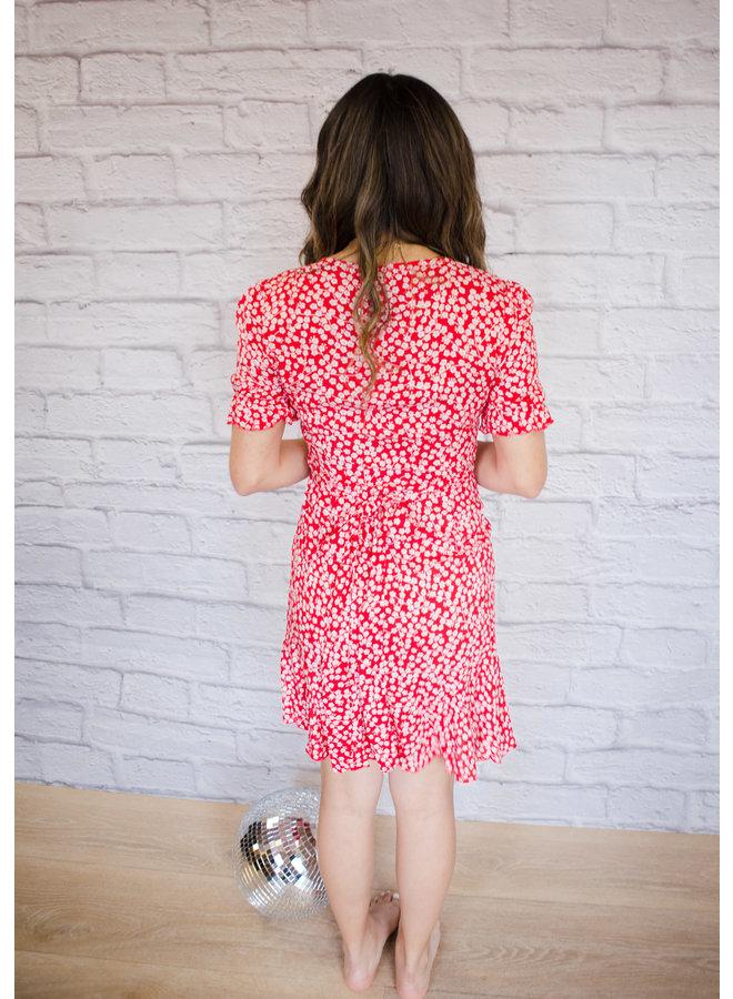 Cute Floral Print Mini Dress Red