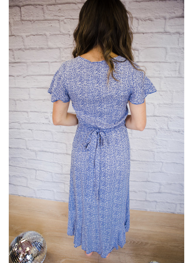 Floral Print Wrap Midi Dress Light Blue