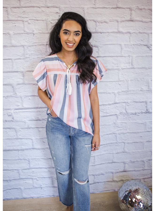 Stripe Print Short Sleeve Blouse