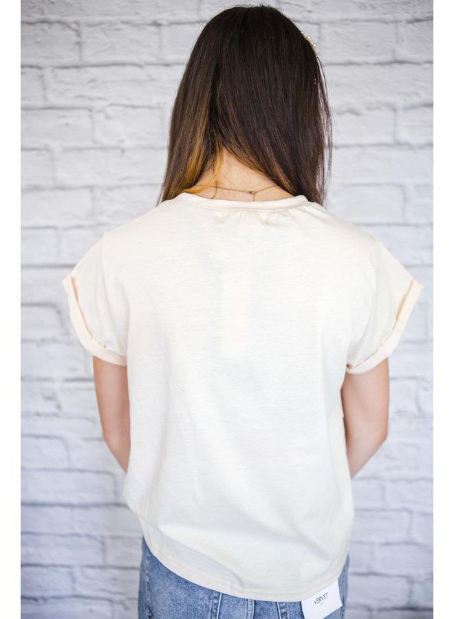 Printing Short Sleeve T-Shirt Beige
