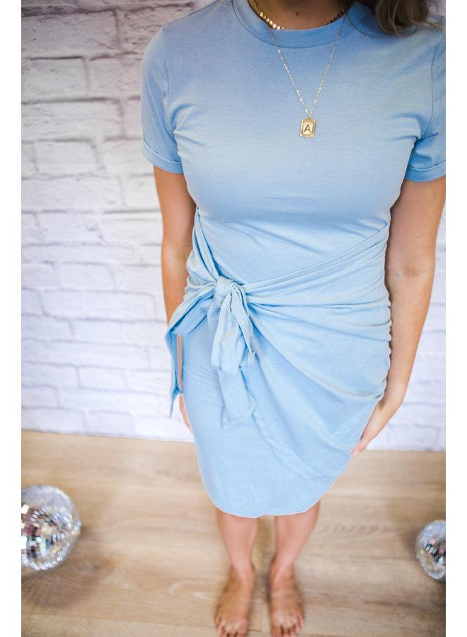 Short Sleeve Tie Front Dress Light Blue