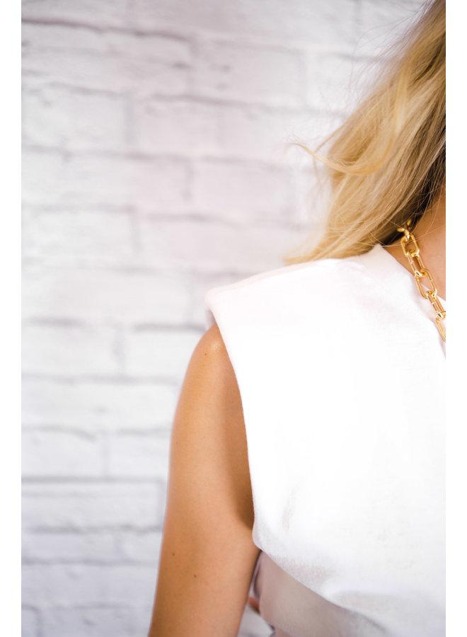 Summer Padded Shoulder Top White