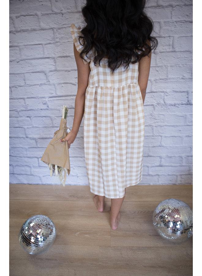 Cute Plaid Print Babydoll Mini Dress Khaki
