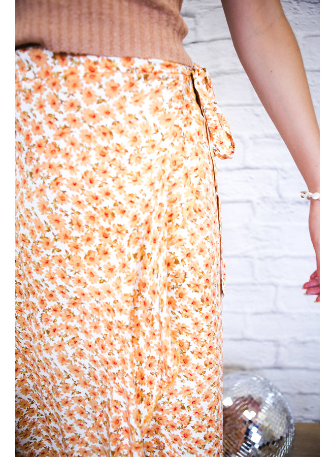 Floral Printing Flared Wrap Skirt