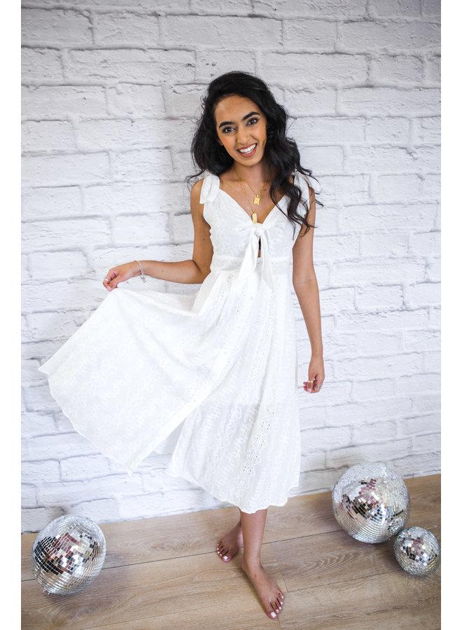 White Textured Straps Midi Dress