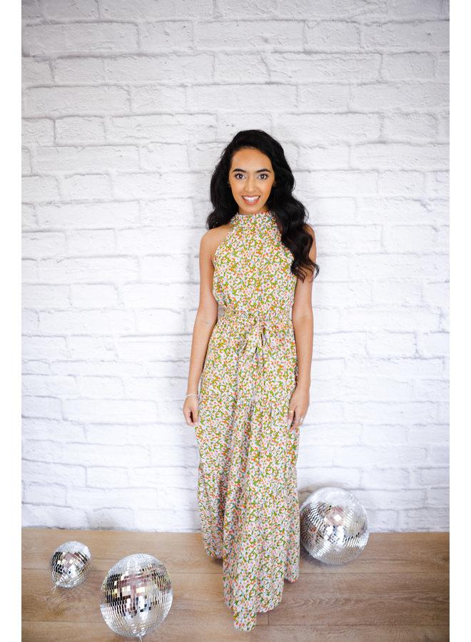 Print Halter Tiered Maxi Dress Blue Floral