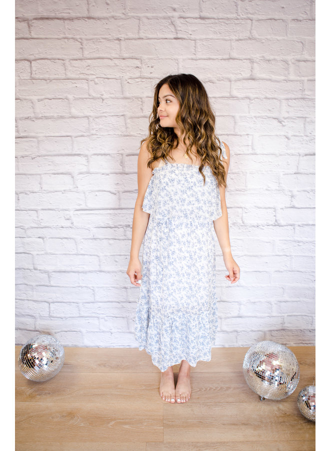 Blue Floral Tying Spaghetti Strap Midi Dress